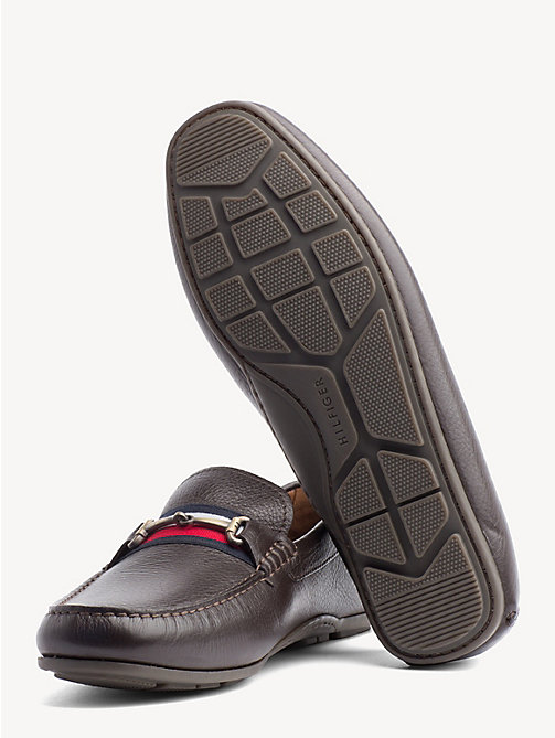 TOMMY HILFIGER Signature Tape Leather Loafers - COFFEEBEAN - TOMMY HILFIGER NEW IN - detail image 1