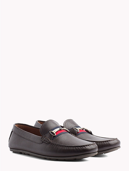 TOMMY HILFIGER Signature Tape Leather Loafers - COFFEE BEAN - TOMMY HILFIGER NEW IN - main image