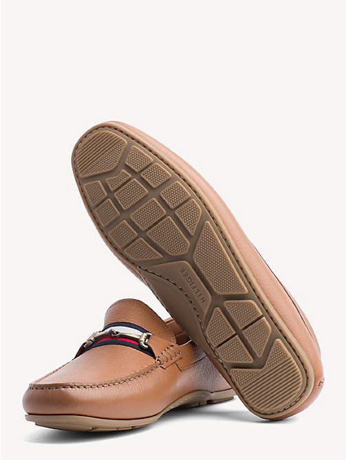 TOMMY HILFIGER Signature Tape Leather Loafers - COGNAC - TOMMY HILFIGER Loafers & Boat Shoes - detail image 1