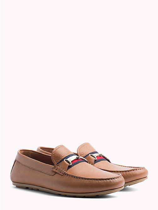 TOMMY HILFIGER Signature Tape Leather Loafers - COGNAC - TOMMY HILFIGER Loafers & Boat Shoes - main image