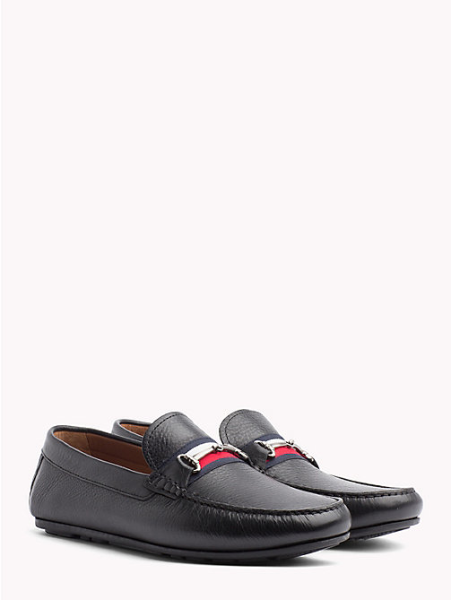 TOMMY HILFIGER Signature Tape Leather Loafers - BLACK - TOMMY HILFIGER Loafers & Boat Shoes - main image