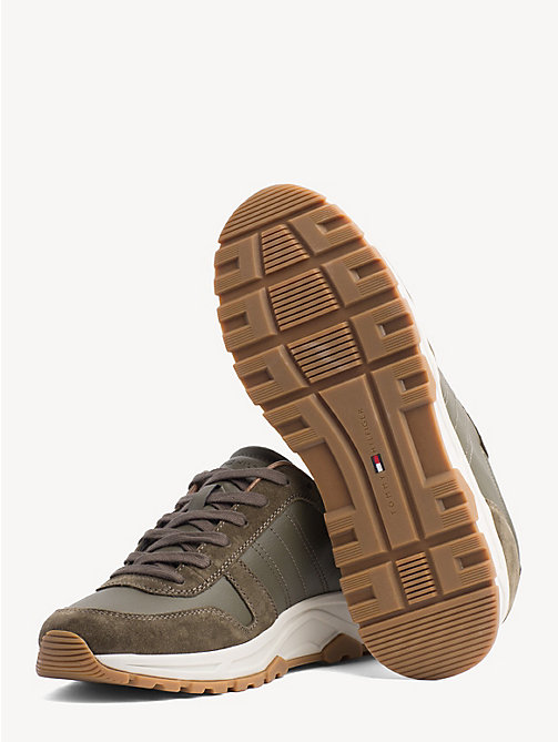 TOMMY HILFIGER Lightweight Suede Trainers - OLIVE NIGHT - TOMMY HILFIGER Trainers - detail image 1