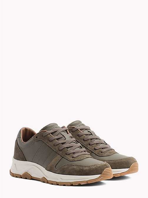 TOMMY HILFIGER Lightweight Suede Trainers - OLIVE NIGHT - TOMMY HILFIGER NEW IN - main image