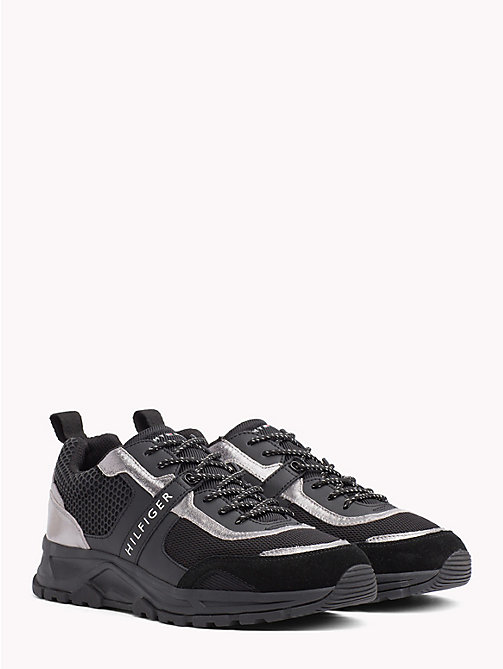 TOMMY HILFIGER Lightweight Metallic Detail Trainers - BLACK - TOMMY HILFIGER NEW IN - main image