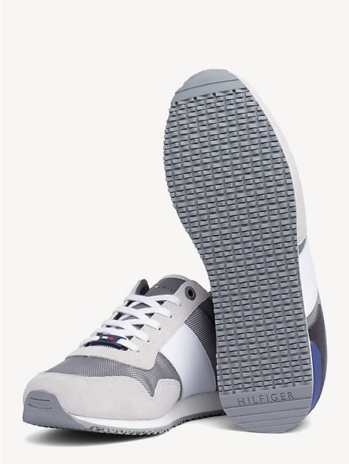 TOMMY HILFIGER Contrast Texture Low-Top Trainers - ICE/LIGHT GREY/MAZARINE BLUE - TOMMY HILFIGER Trainers - detail image 1