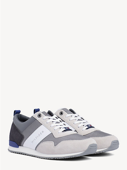 TOMMY HILFIGER Contrast Texture Low-Top Trainers - ICE/LIGHT GREY/MAZARINE BLUE - TOMMY HILFIGER Trainers - main image