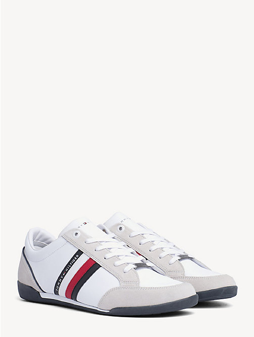TOMMY HILFIGER Signature Suede Cupsole Trainers - WHITE - TOMMY HILFIGER Trainers - main image