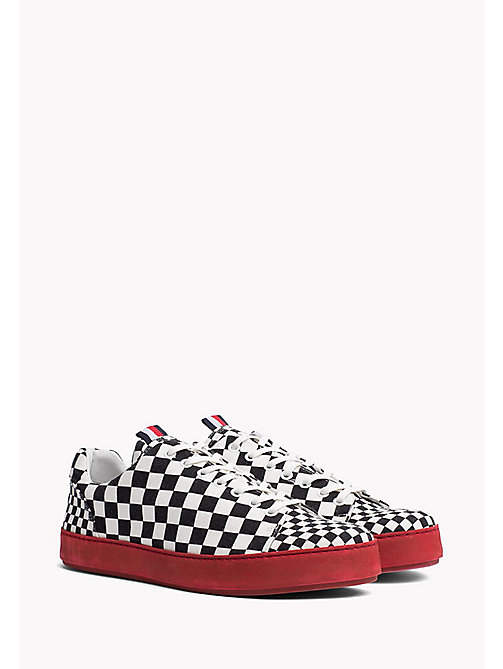 TOMMY HILFIGER Check Canvas Cupsole Trainers - BLACK / CHECK - TOMMY HILFIGER Shoes - main image