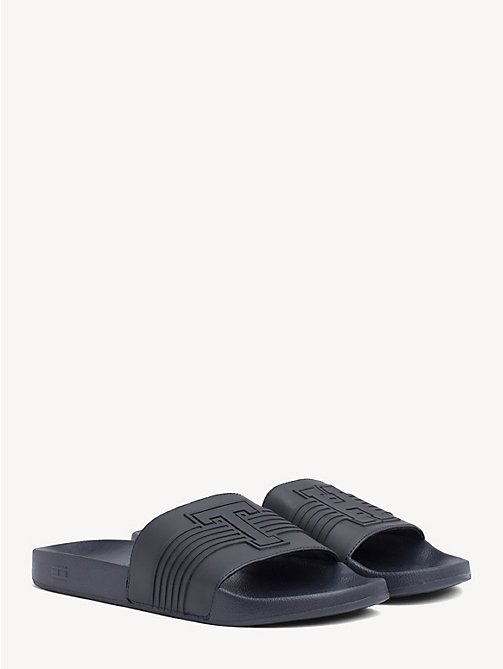 TOMMY HILFIGER Striped Pool Slide Sandals - MIDNIGHT - TOMMY HILFIGER Sandals & Flip Flops - main image