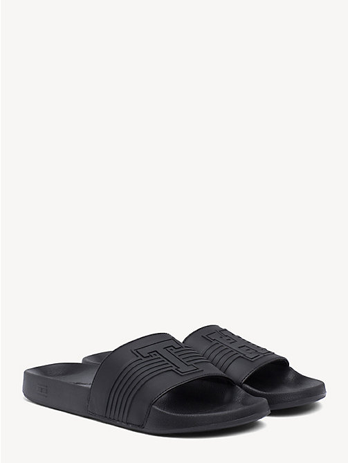 TOMMY HILFIGER Striped Pool Slide Sandals - BLACK - TOMMY HILFIGER Sandals & Flip Flops - main image