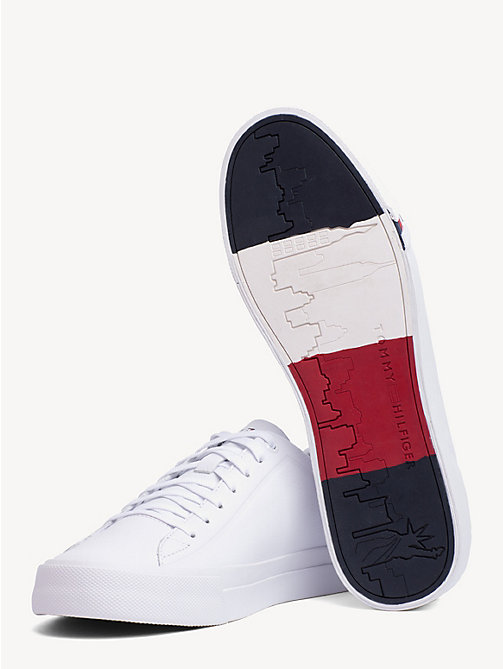 TOMMY HILFIGER Debossed Logo Leather Trainers - WHITE - TOMMY HILFIGER Trainers - detail image 1
