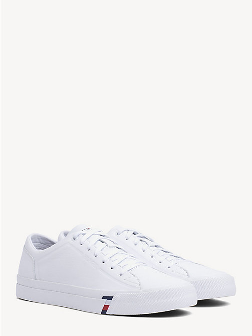 TOMMY HILFIGER Debossed Logo Leather Trainers - WHITE - TOMMY HILFIGER Trainers - main image
