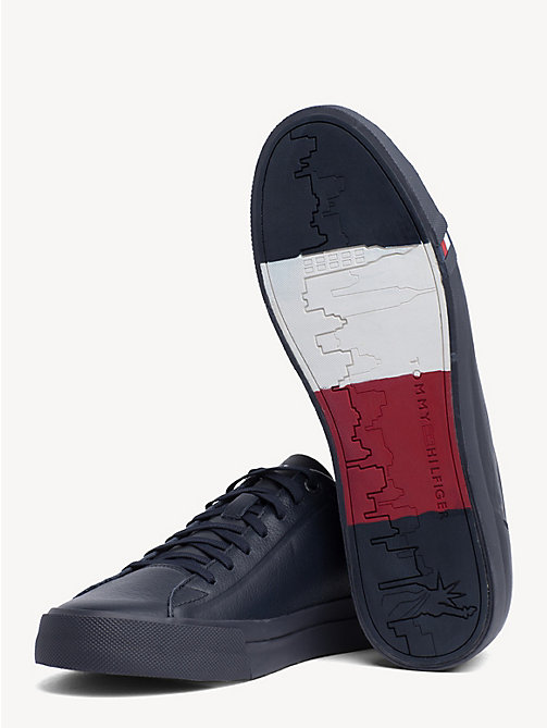 TOMMY HILFIGER Debossed Logo Leather Trainers - MIDNIGHT - TOMMY HILFIGER Trainers - detail image 1