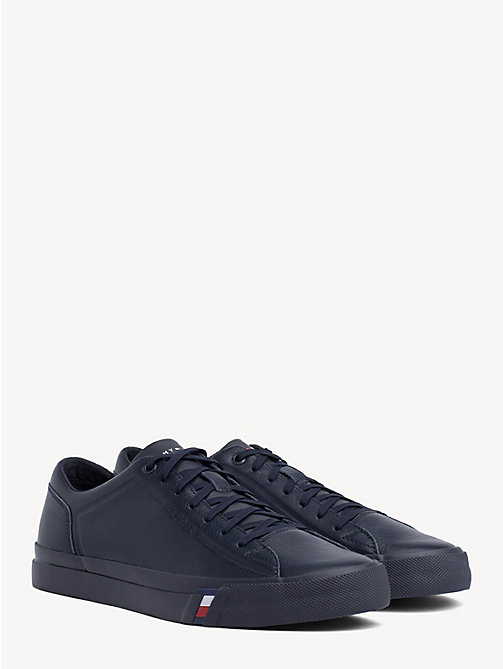 TOMMY HILFIGER Debossed Logo Leather Trainers - MIDNIGHT - TOMMY HILFIGER Trainers - main image