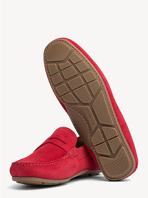 TOMMY HILFIGER Classic Suede Penny Loafers - TANGO RED - TOMMY HILFIGER Loafers & Boat Shoes - detail image 1