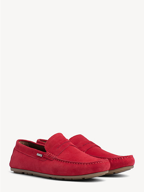 TOMMY HILFIGER Classic Suede Penny Loafers - TANGO RED - TOMMY HILFIGER Loafers & Boat Shoes - main image