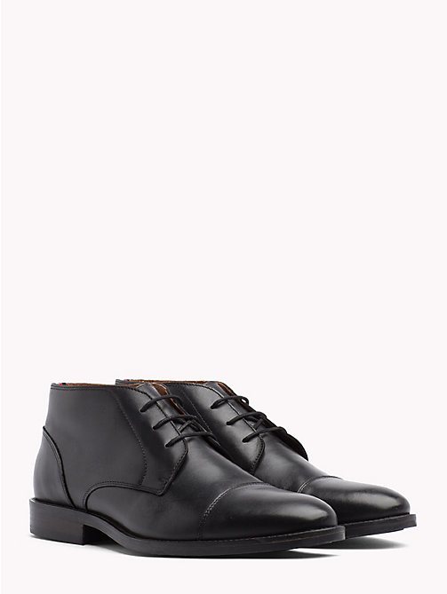 TOMMY HILFIGER Essential Leather Lace-Up Boots - BLACK - TOMMY HILFIGER NEW IN - main image