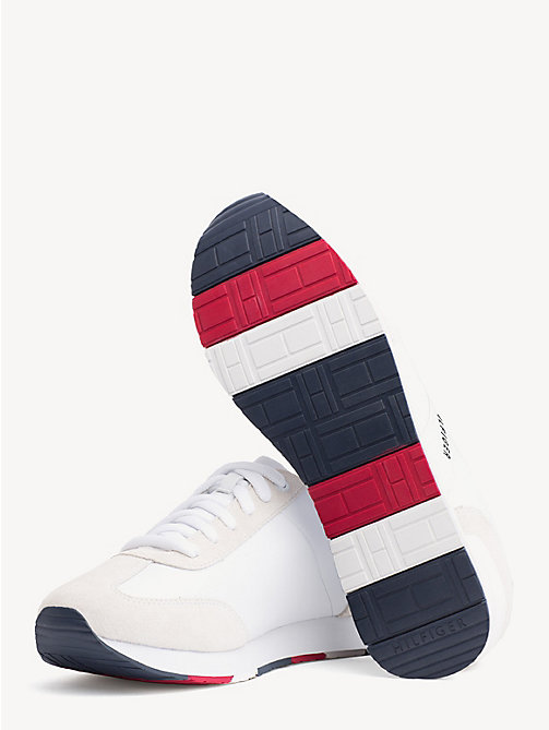 TOMMY HILFIGER Suede Colour-Blocked Trainers - WHITE - TOMMY HILFIGER Trainers - detail image 1