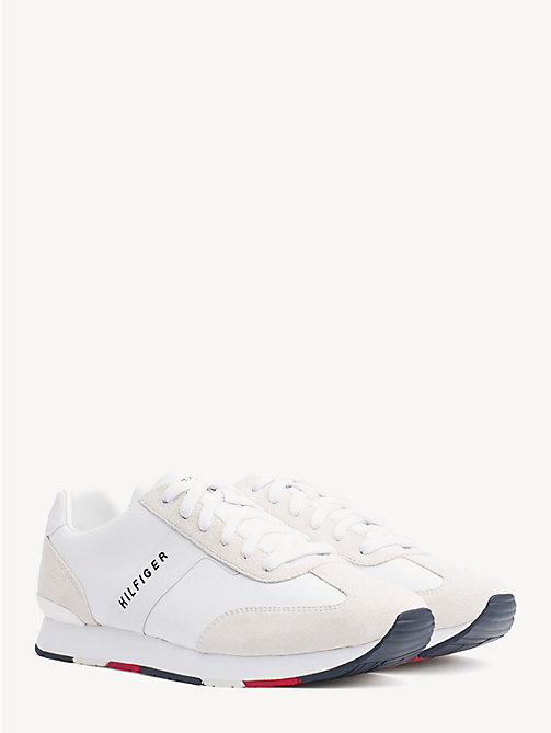 TOMMY HILFIGER Suede Colour-Blocked Trainers - WHITE - TOMMY HILFIGER NEW IN - main image