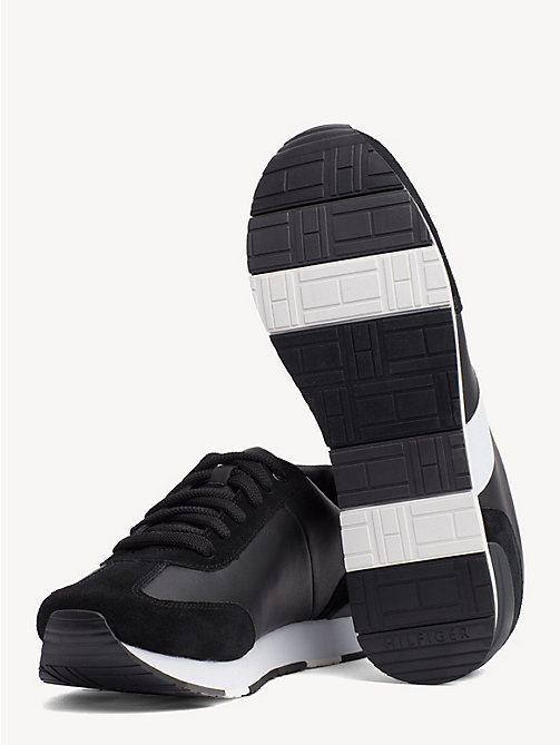 TOMMY HILFIGER Colour-blocked suède sneaker - BLACK - TOMMY HILFIGER NIEUW - detail image 1
