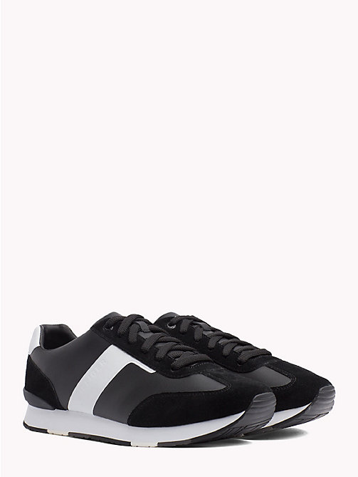 TOMMY HILFIGER Suede Colour-Blocked Trainers - BLACK - TOMMY HILFIGER NEW IN - main image