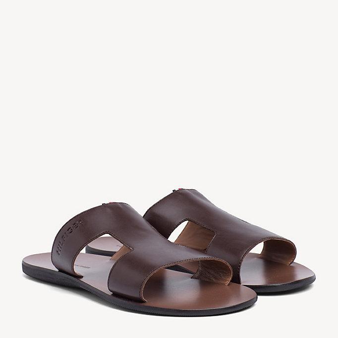 sports shoes c535a 79029 Slipper-Sandale aus Leder | BRAUN | Tommy Hilfiger
