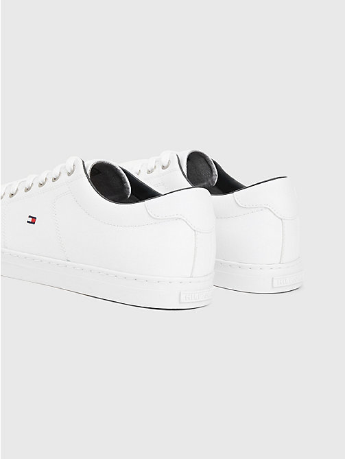 TOMMY HILFIGER ESSENTIAL LEATHER SNEAKER - WHITE - TOMMY HILFIGER Baskets - image détaillée 1