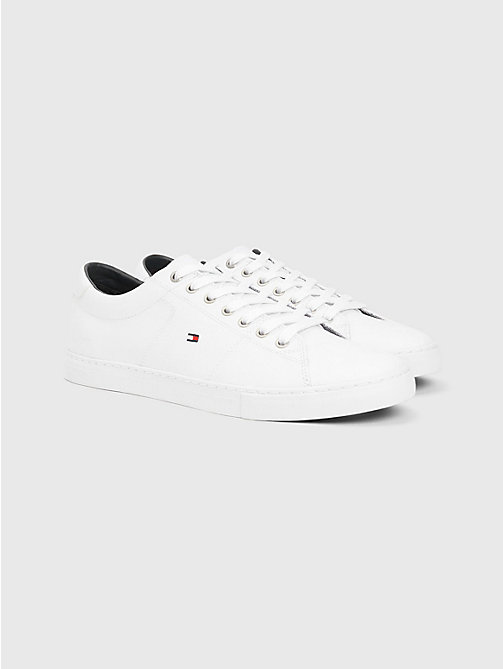TOMMY HILFIGER ESSENTIAL LEATHER SNEAKER - WHITE - TOMMY HILFIGER Sneakers - immagine principale