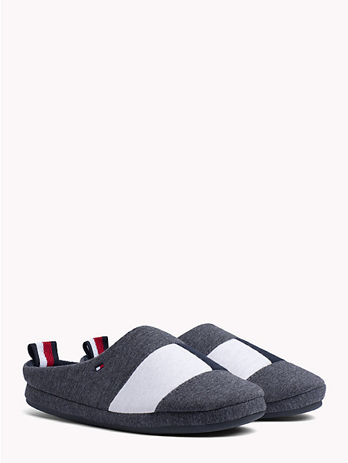 TOMMY HILFIGER Colour-Blocked Cotton Slippers - MAGNET - TOMMY HILFIGER Slippers - main image
