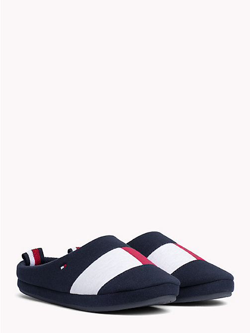 TOMMY HILFIGER Colour-Blocked Cotton Slippers - MIDNIGHT - TOMMY HILFIGER Slippers - main image
