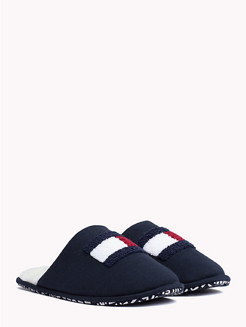 TOMMY HILFIGER Varsity Flag Cotton Slippers - MIDNIGHT - TOMMY HILFIGER Slippers - main image