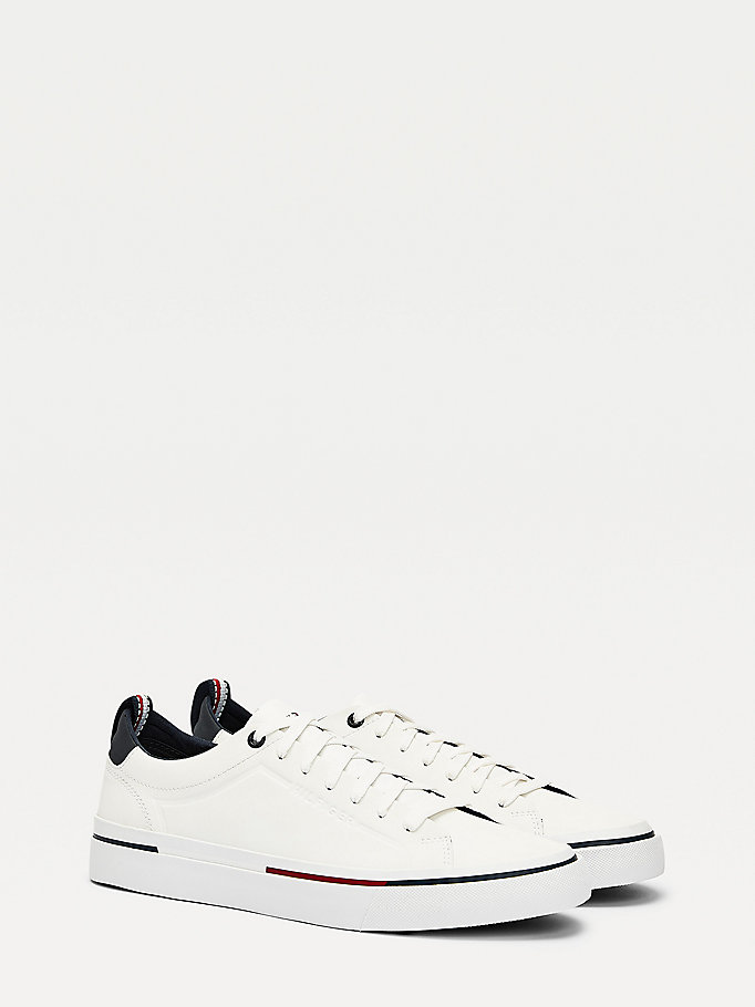 white signature leather trainers for men tommy hilfiger