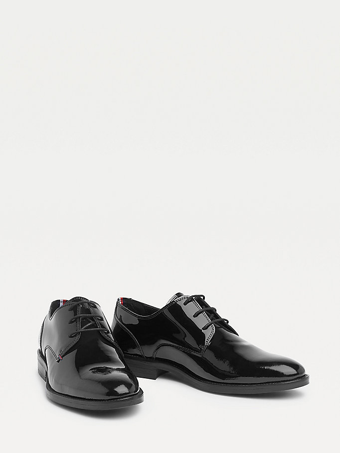 black essential patent leather lace-up shoes for men tommy hilfiger