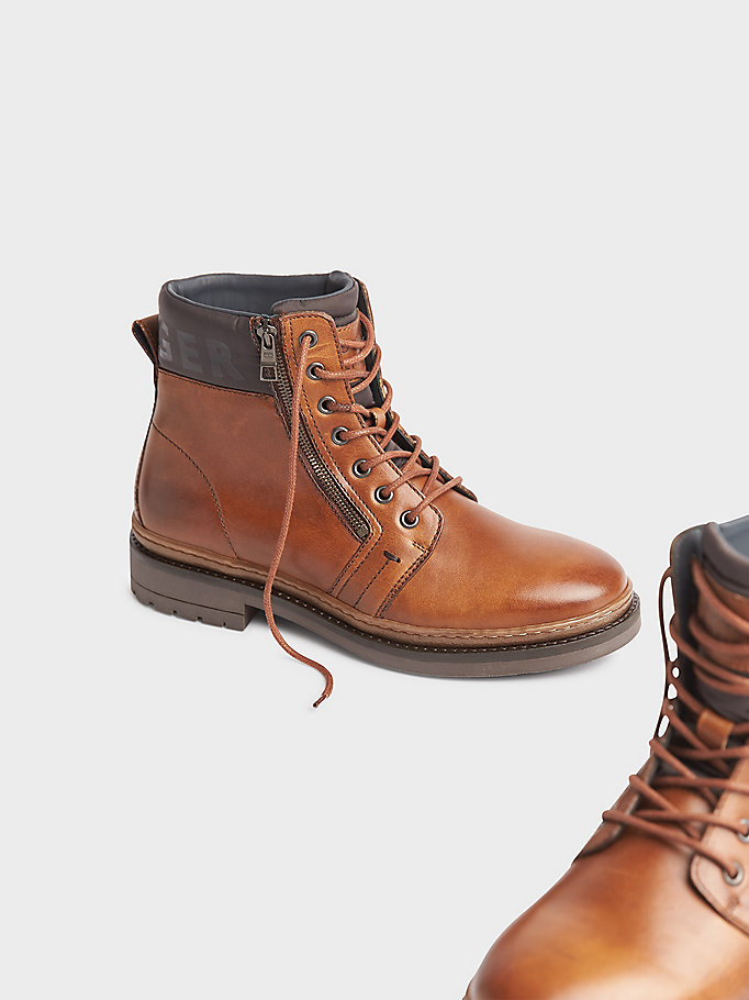 bottines en cuir texturé marron pour men tommy hilfiger