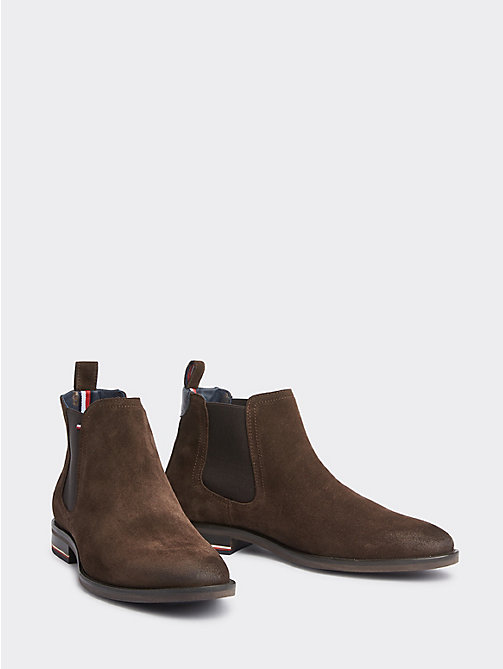 f430929f2de4a brown signature suede chelsea boots for men tommy hilfiger