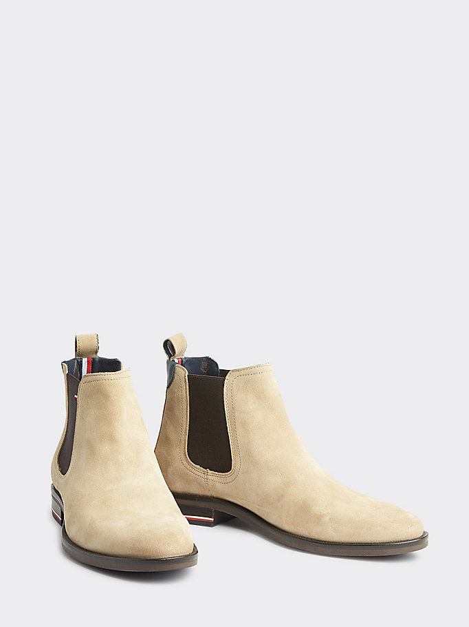 tommy hilfiger chelsea boots beige