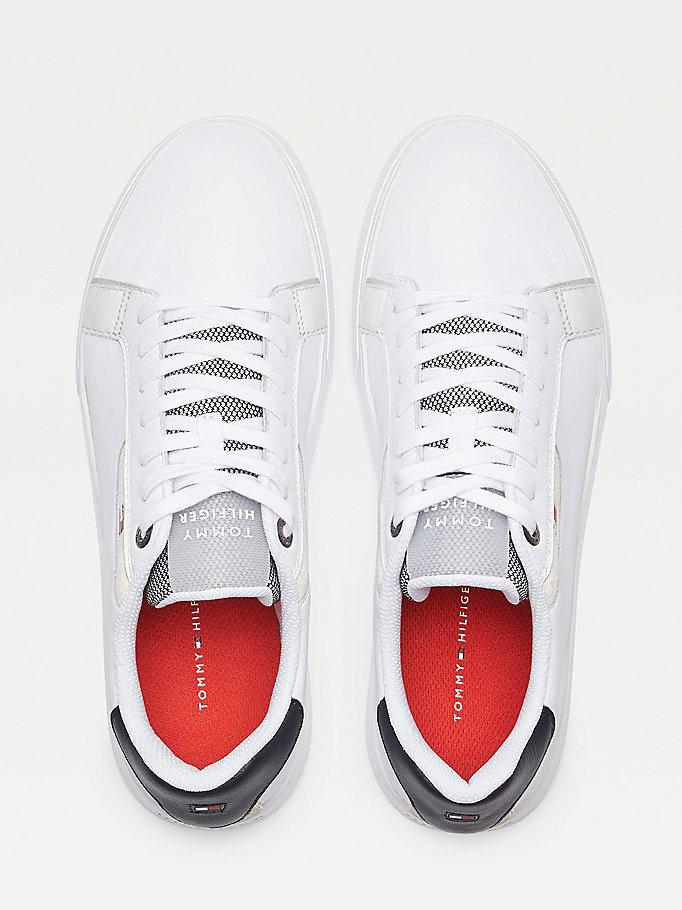 Skorzane Buty Sportowe Essential Bialy Tommy Hilfiger