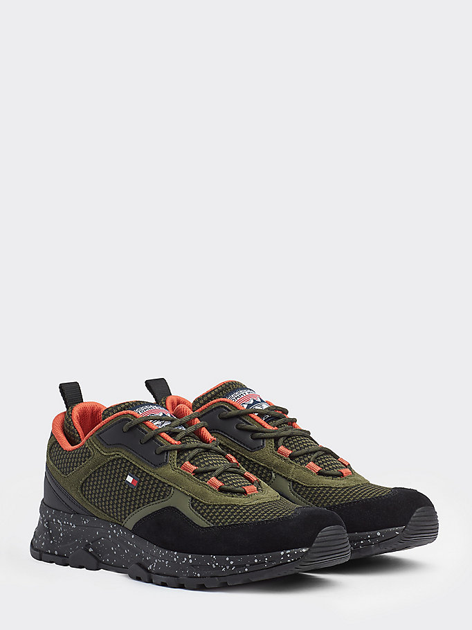 khaki mixed texture trainers for men tommy hilfiger