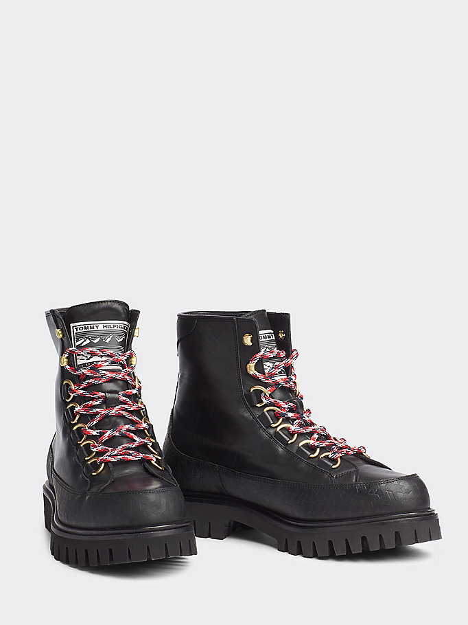 black leather logo lace-up boots for men tommy hilfiger