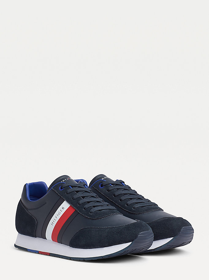 blue signature tape suede mix trainers for men tommy hilfiger