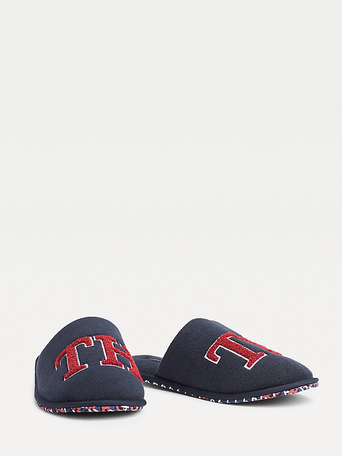 blue th logo towelling slippers for men tommy hilfiger