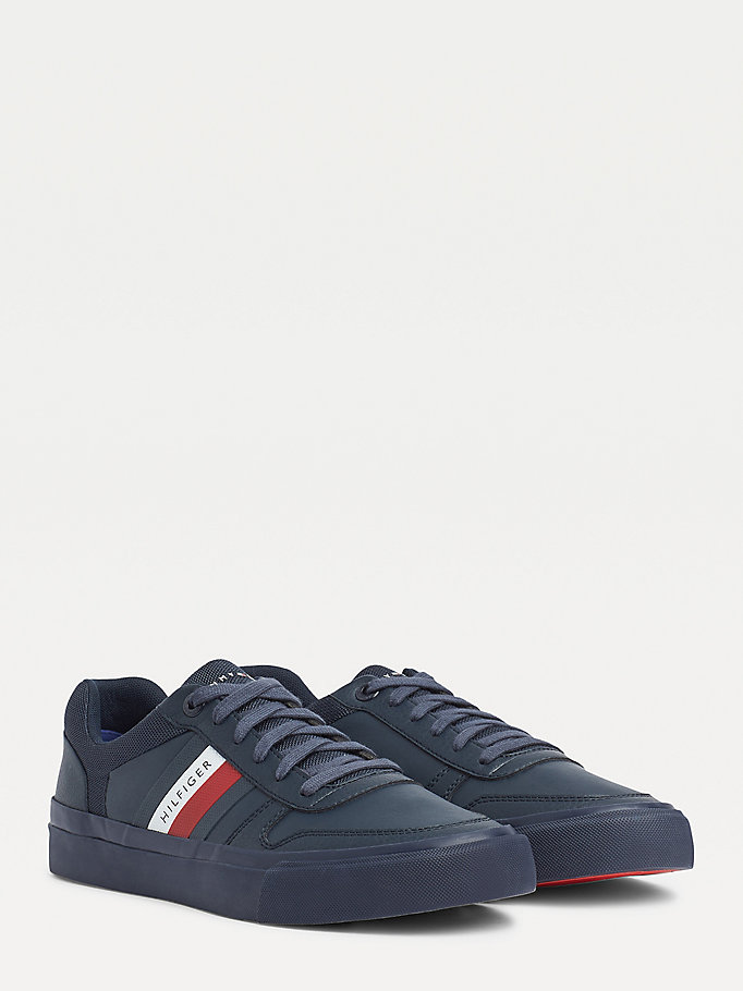 blue th modern signature vulcanised trainers for men tommy hilfiger