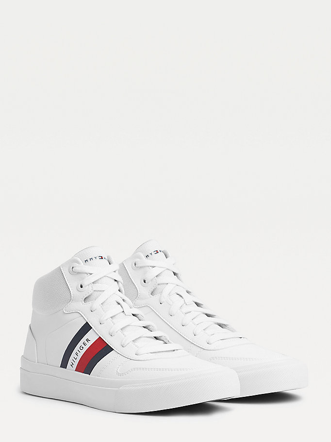 white signature high-top vulcanised rubber trainers for men tommy hilfiger