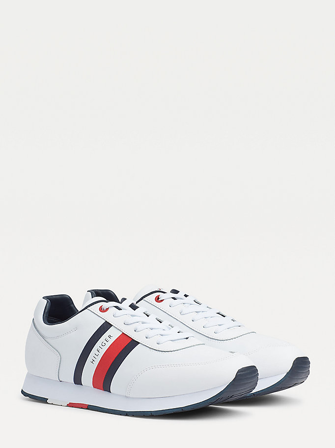 white signature flag patch leather trainers for men tommy hilfiger