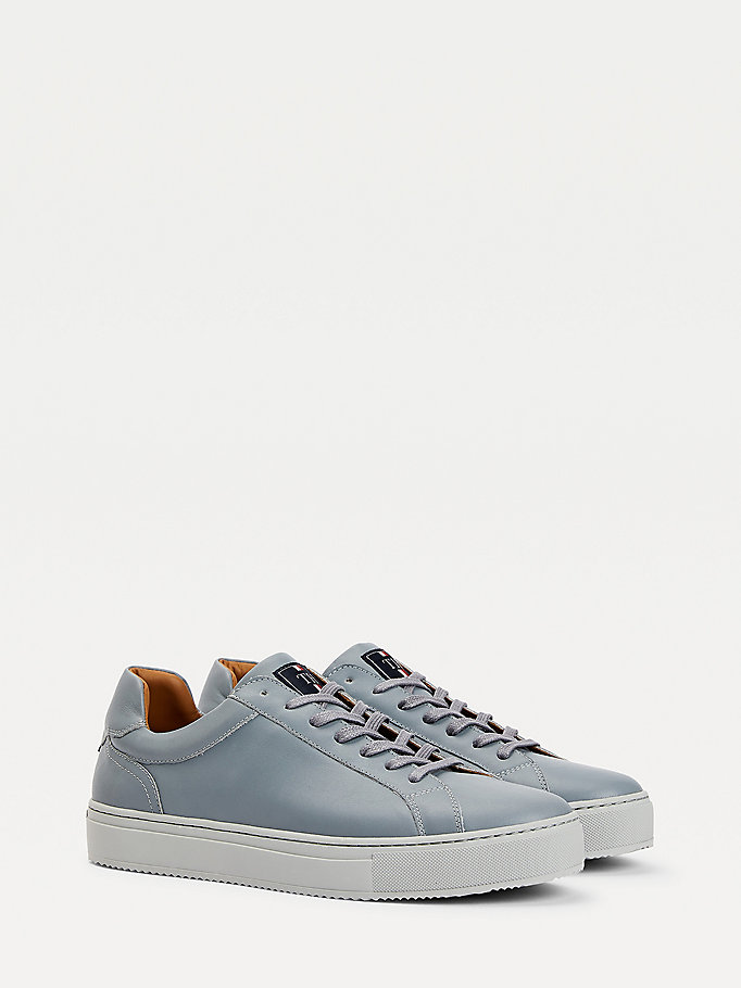 grey premium cupsole leather trainers for men tommy hilfiger