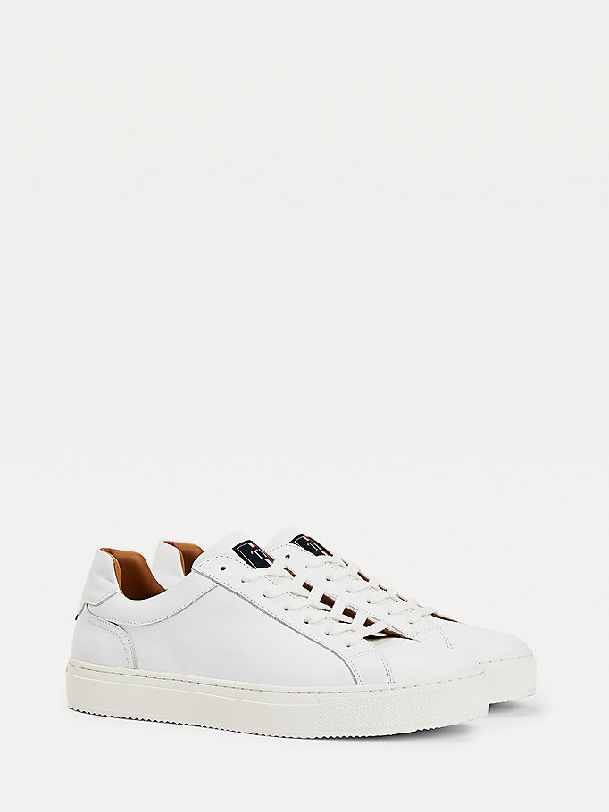 white premium cupsole leather trainers for men tommy hilfiger