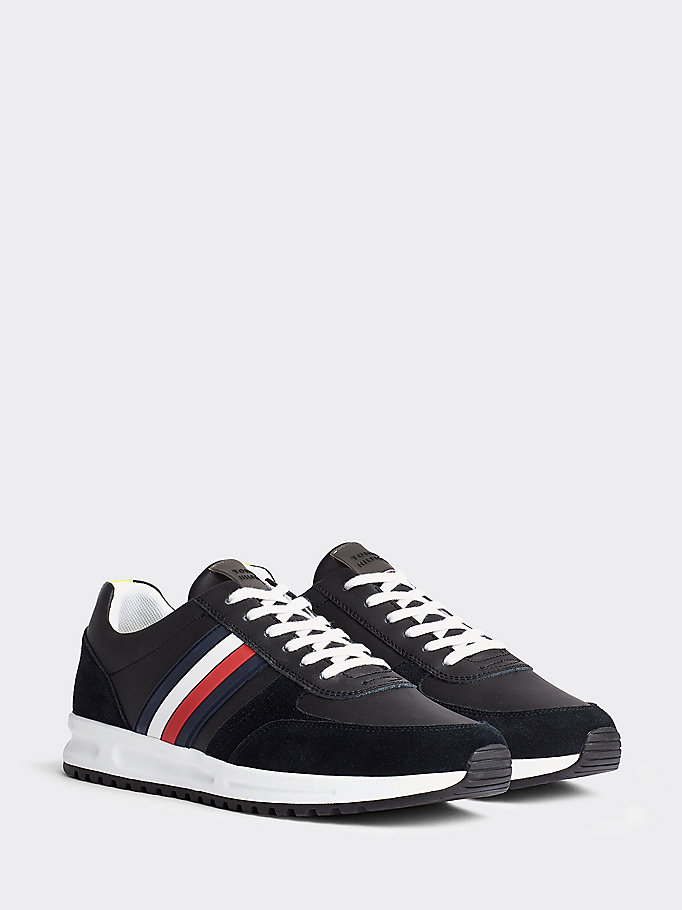 black signature leather lace-up trainers for men tommy hilfiger