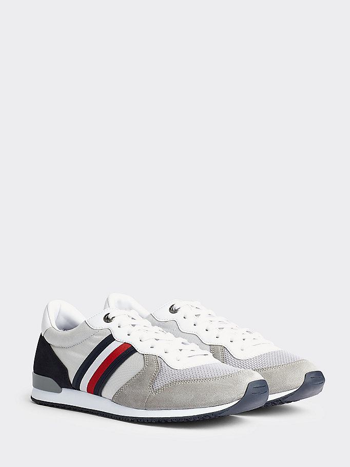 grey tommy icons panelled lace-up trainers for men tommy hilfiger