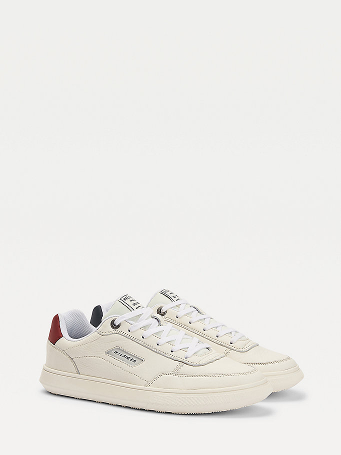 white essential court leather trainers for men tommy hilfiger