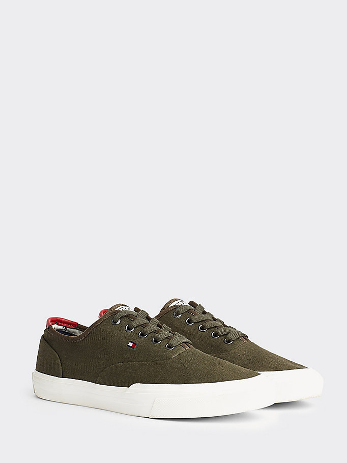 khaki th core lace-up baumwollsneaker für men - tommy hilfiger
